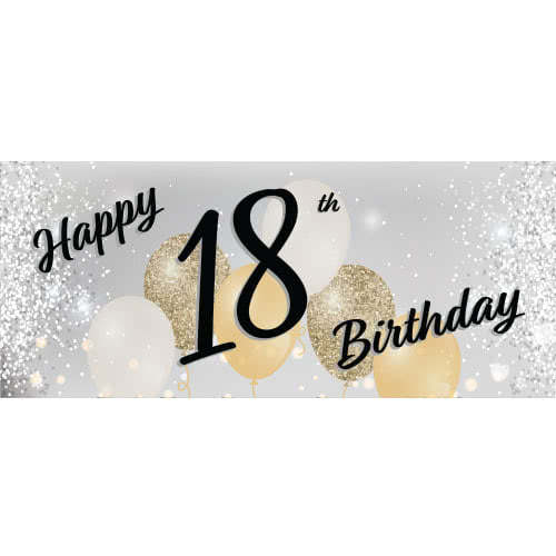 Happy 18th Birthday Silver PVC Party Sign Decoration 60cm x 25cm Product Image