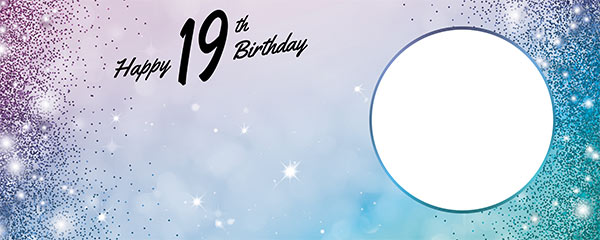 Happy 19th Birthday Sparkles Blue Pink Design Medium Personalised Banner – 6ft x 2.25ft