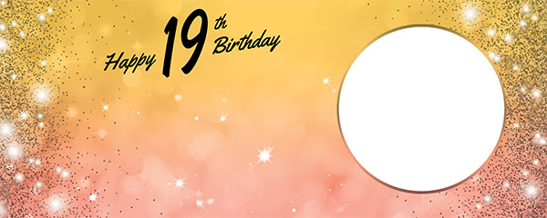 Happy 19th Birthday Sparkles Gold Pink Design Medium Personalised Banner – 6ft x 2.25ft