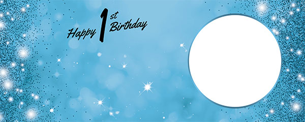 Happy 1st Birthday Sparkles Baby Blue Design Small Personalised Banner – 4ft x 2ft