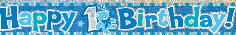 Happy 1st Birthday Blue Prismatic Foil Banner 365cm