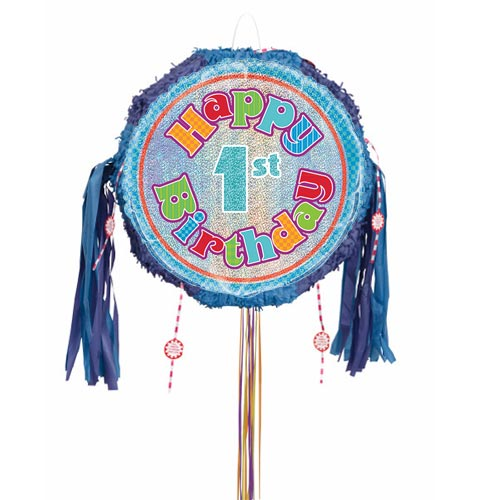 Happy 1st Birthday Holographic Pull String Pinata Product Image