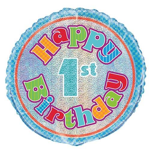 Happy 1st Birthday Holographic Round Foil Helium Balloon 46cm / 18Inch