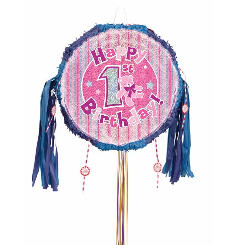 Happy 1st Birthday Pink Holographic Pull String Pinata Product Image