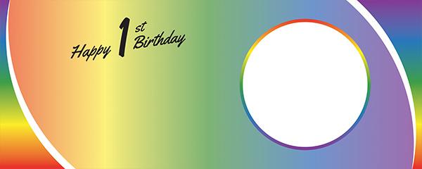 Happy 1st Birthday Rainbow Ombre Design Medium Personalised Banner – 6ft x 2.25ft