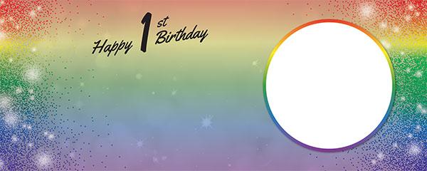 Happy 1st Birthday Rainbow Sparkles Design Medium Personalised Banner – 6ft x 2.25ft