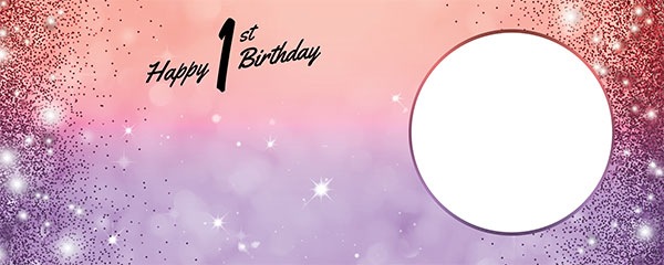 Happy 1st Birthday Sparkles Red Purple Design Small Personalised Banner – 4ft x 2ft