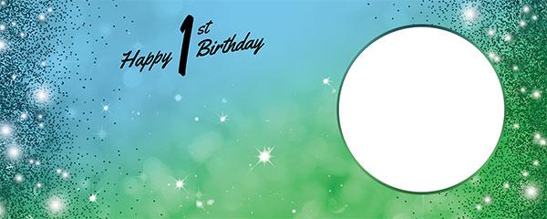 Happy 1st Birthday Sparkles Blue Green Design Medium Personalised Banner – 6ft x 2.25ft