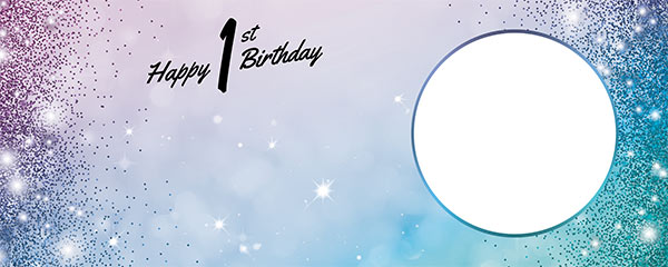 Happy 1st Birthday Sparkles Blue Pink Design Large Personalised Banner – 10ft x 4ft
