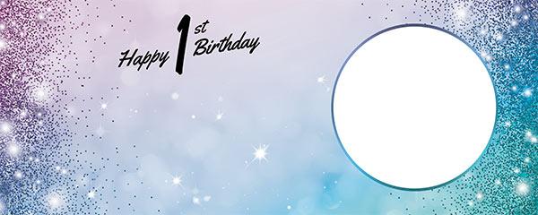 Happy 1st Birthday Sparkles Blue Pink Design Medium Personalised Banner – 6ft x 2.25ft