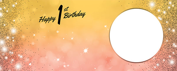 Happy 1st Birthday Sparkles Gold Pink Design Medium Personalised Banner – 6ft x 2.25ft