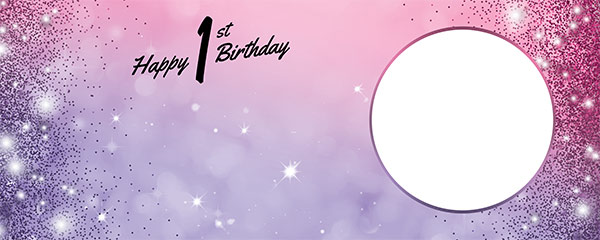Happy 1st Birthday Sparkles Pink Purple Design Small Personalised Banner – 4ft x 2ft