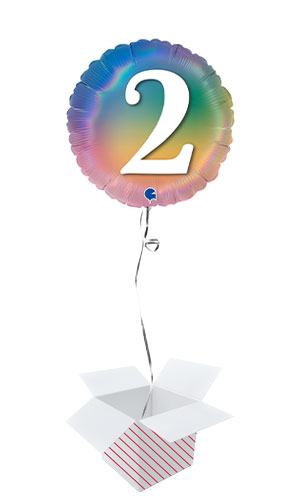 Age 2 Colourful Rainbow Holographic Round Foil Helium Balloon - Inflated Balloon in a Box