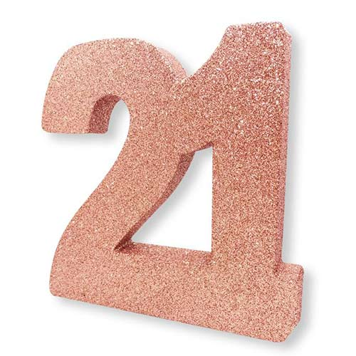 Number 21 Rose Gold Glitter Table Decoration 20cm Product Image