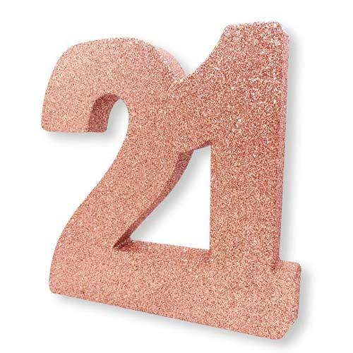 Number 21 Rose Gold Glitter Table Decoration 20cm