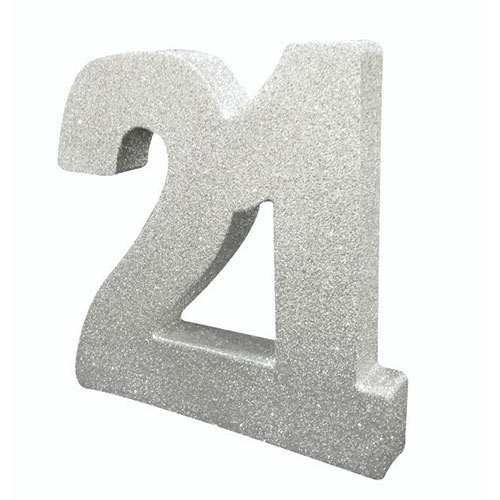 Number 21 Silver Glitter Table Decoration 20cm