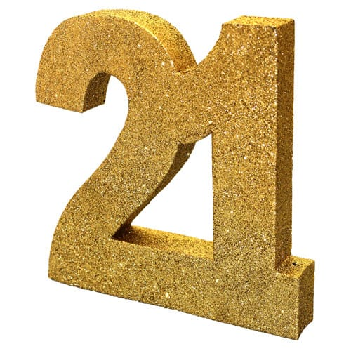 Happy 21 Birthday Gold Glitter Table Decoration