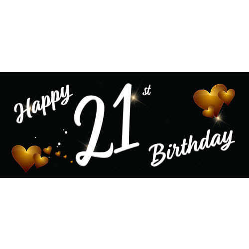 Happy 21st Birthday Black PVC Party Sign Decoration 60cm x 25cm Product Image