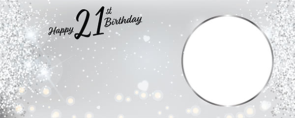 Happy 21st Birthday Milestone Light Design Medium Personalised Banner - 6ft x 2.25ft