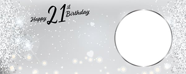 Happy 21st Birthday Milestone Light Design Small Personalised Banner - 4ft x 2ft