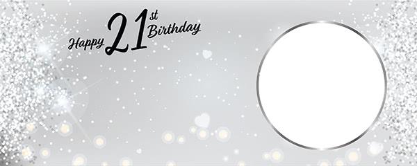 Happy 21st Birthday Milestone Light Design Small Personalised Banner - 4ft x 2ft