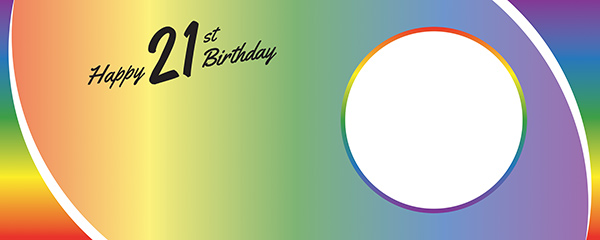 Happy 21st Birthday Rainbow Ombre Design Large Personalised Banner – 10ft x 4ft