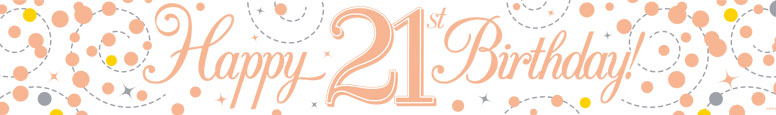 Happy 21st Birthday Rose Gold Holographic Foil Banner 2.7m Product Image
