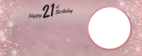 Happy 21st Birthday Rose Gold Sparkles Design Small Personalised Banner 4ft x 2ft