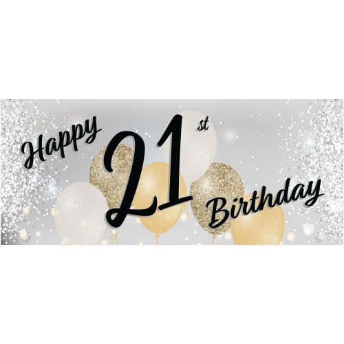 Happy 21st Birthday Silver PVC Party Sign Decoration 60cm x 25cm Product Image