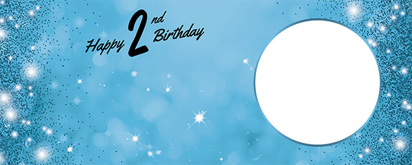 Happy 2nd Birthday Sparkles Baby Blue Design Medium Personalised Banner – 6ft x 2.25ft