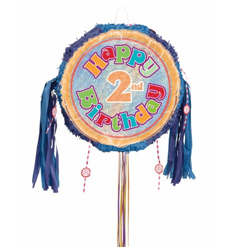 Happy 2nd Birthday Holographic Pull String Pinata Product Image