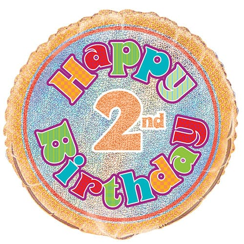 Happy 2nd Birthday Holographic Round Foil Helium Balloon 46cm / 18Inch Product Image