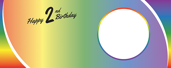 Happy 2nd Birthday Rainbow Ombre Design Medium Personalised Banner – 6ft x 2.25ft