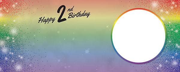 Happy 2nd Birthday Rainbow Sparkles Design Medium Personalised Banner – 6ft x 2.25ft