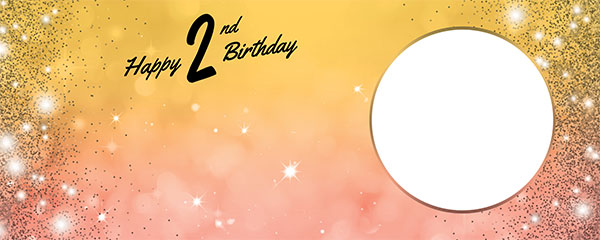 Happy 2nd Birthday Sparkles Gold Pink Design Medium Personalised Banner – 6ft x 2.25ft