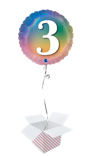 Age 3 Colourful Rainbow Holographic Round Foil Helium Balloon - Inflated Balloon in a Box Product Image