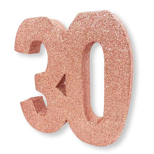 Number 30 Birthday Rose Gold Glitter Table Decoration 20cm Product Image