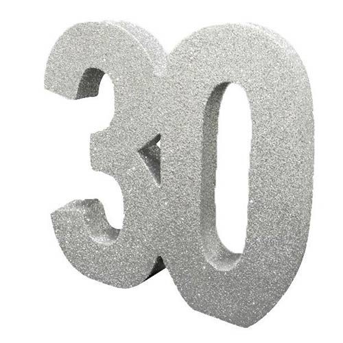 Number 30 Silver Glitter Table Decoration 20cm Product Image