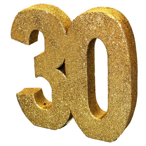 Happy 30 Birthday Gold Glitter Table Decoration