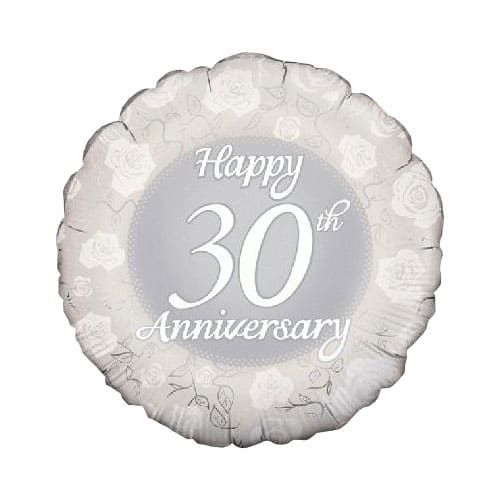 Happy 30th Anniversary Round Foil Helium Balloon 46cm / 18Inch Product Image