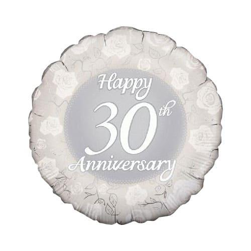 Happy 30th Anniversary Round Foil Helium Balloon 46cm / 18Inch