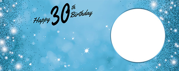 Happy 30th Birthday Sparkles Baby Blue Design Medium Personalised Banner – 6ft x 2.25ft