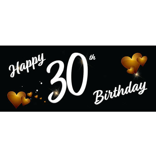 Happy 30th Birthday Black PVC Party Sign Decoration 60cm x 25cm Product Image