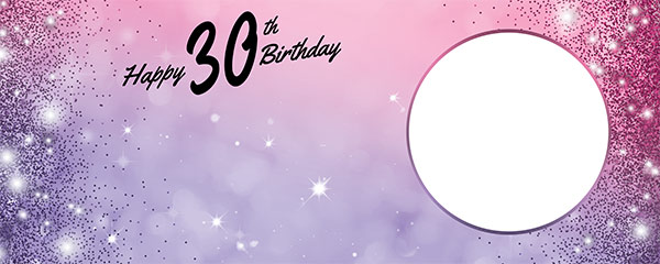 Happy 30th Birthday Sparkles Pink Purple Design Small Personalised Banner – 4ft x 2ft