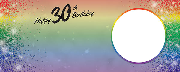 Happy 30th Birthday Rainbow Sparkles Design Medium Personalised Banner – 6ft x 2.25ft