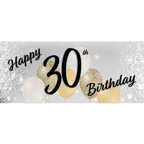 Happy 30th Birthday Silver PVC Party Sign Decoration 60cm x 25cm Product Image