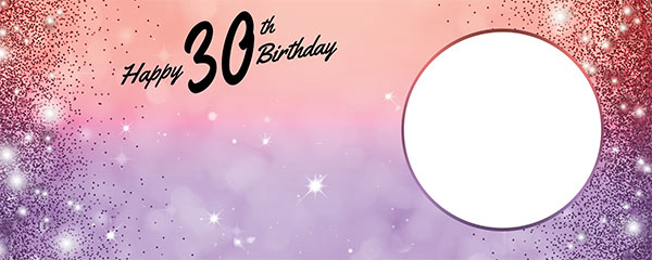 Happy 30th Birthday Sparkles Red Purple Design Small Personalised Banner – 4ft x 2ft
