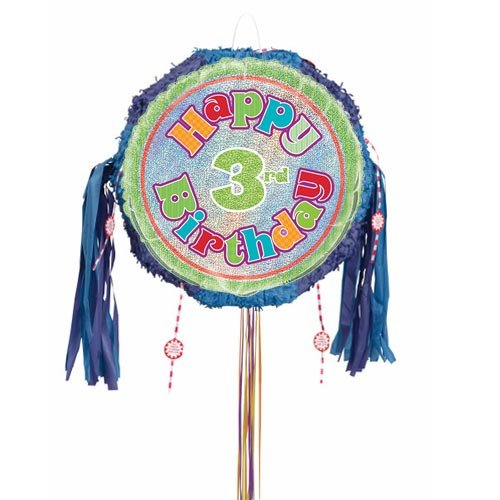 Happy 3rd Birthday Holographic Pull String Pinata Product Image