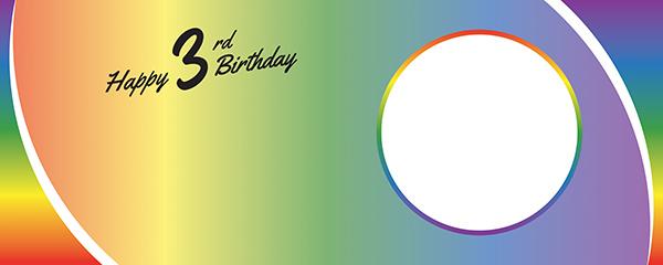 Happy 3rd Birthday Rainbow Ombre Design Medium Personalised Banner – 6ft x 2.25ft