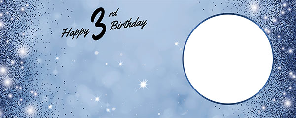 Happy 3rd Birthday Sparkles Royal Blue Design Medium Personalised Banner – 6ft x 2.25ft